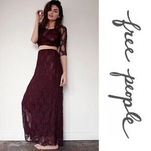 Free People Intimately Maxi Skirt and Crop Top Set
